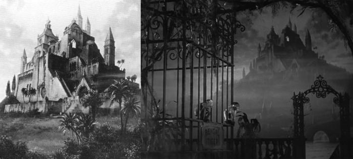 A gauche la peinture, à droite son incrustation ( Citizen Kane,1941)